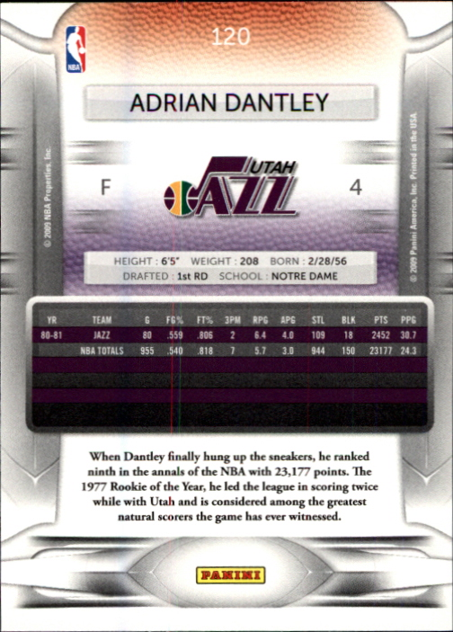2009-10 Prestige #120 Adrian Dantley back image