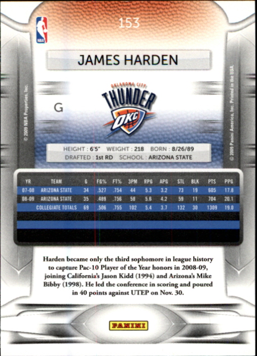 2009-10 Prestige #153 James Harden RC back image
