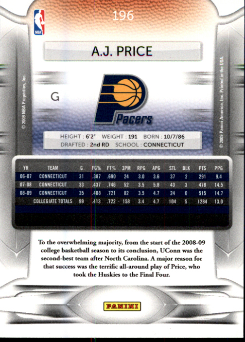 2009-10 Prestige #196 A.J. Price RC back image