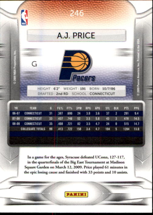 2009-10 Prestige #246 A.J. Price RC back image