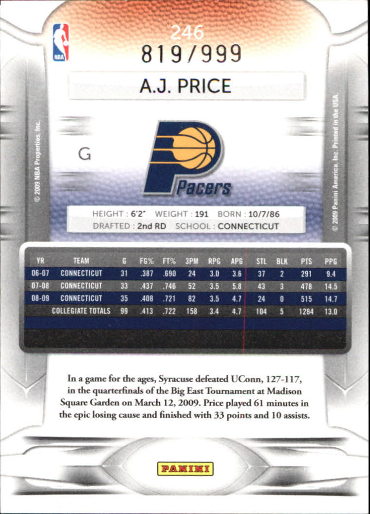 2009-10 Prestige Draft Picks Light Blue #246 A.J. Price back image