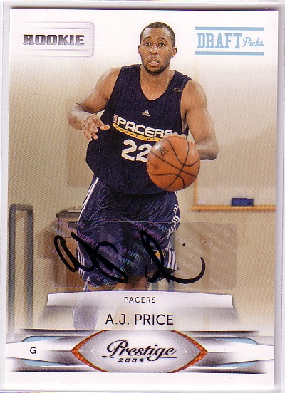 2009-10 Prestige Draft Picks Light Blue Autographs #246 A.J. Price/699