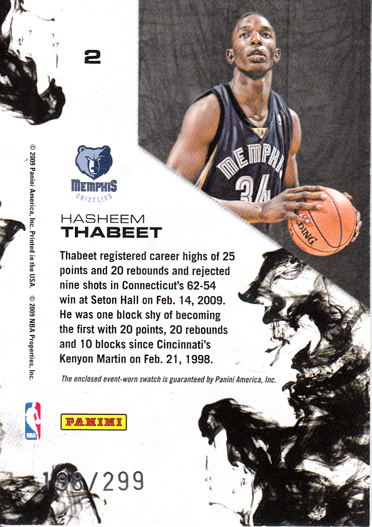 2009-10 Rookies and Stars Dress for Success Materials #2 Hasheem Thabeet back image