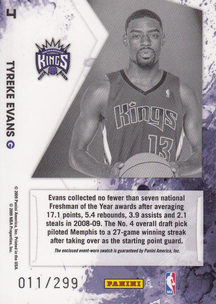 2009-10 Rookies and Stars Longevity Freshman Orientation Materials Jerseys #4 Tyreke Evans back image
