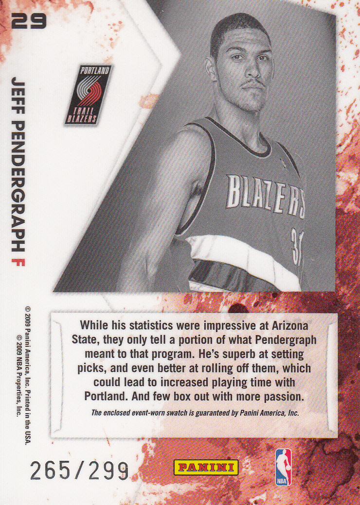 2009-10 Rookies and Stars Longevity Freshman Orientation Materials Jerseys #29 Jeff Pendergraph back image
