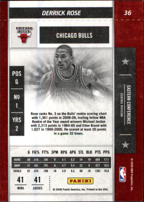 2009-10 Playoff Contenders #36 Derrick Rose back image