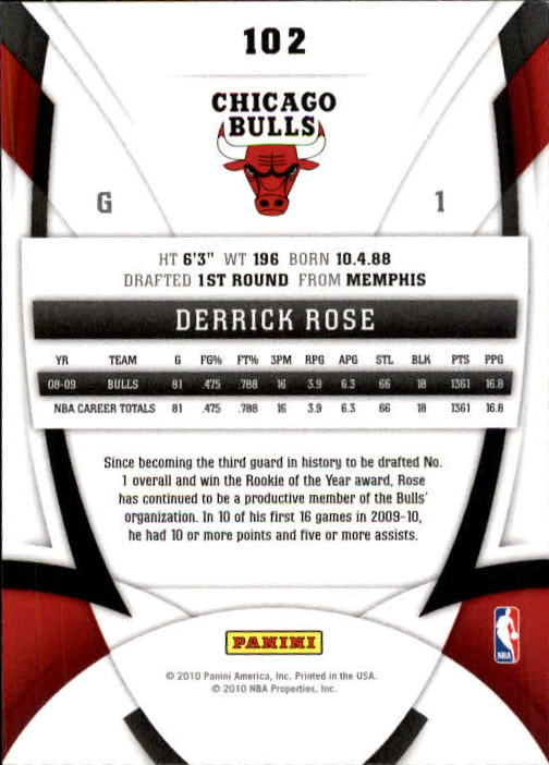2009-10 Certified #102 Derrick Rose back image