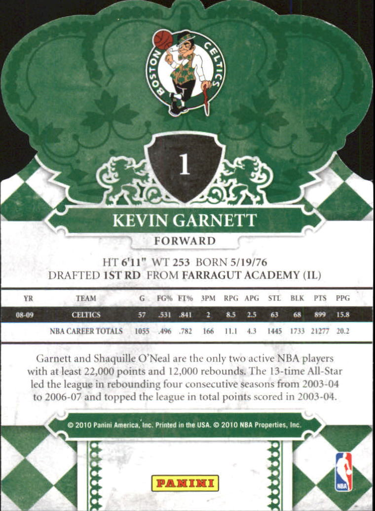 2009-10 Crown Royale #1 Kevin Garnett back image