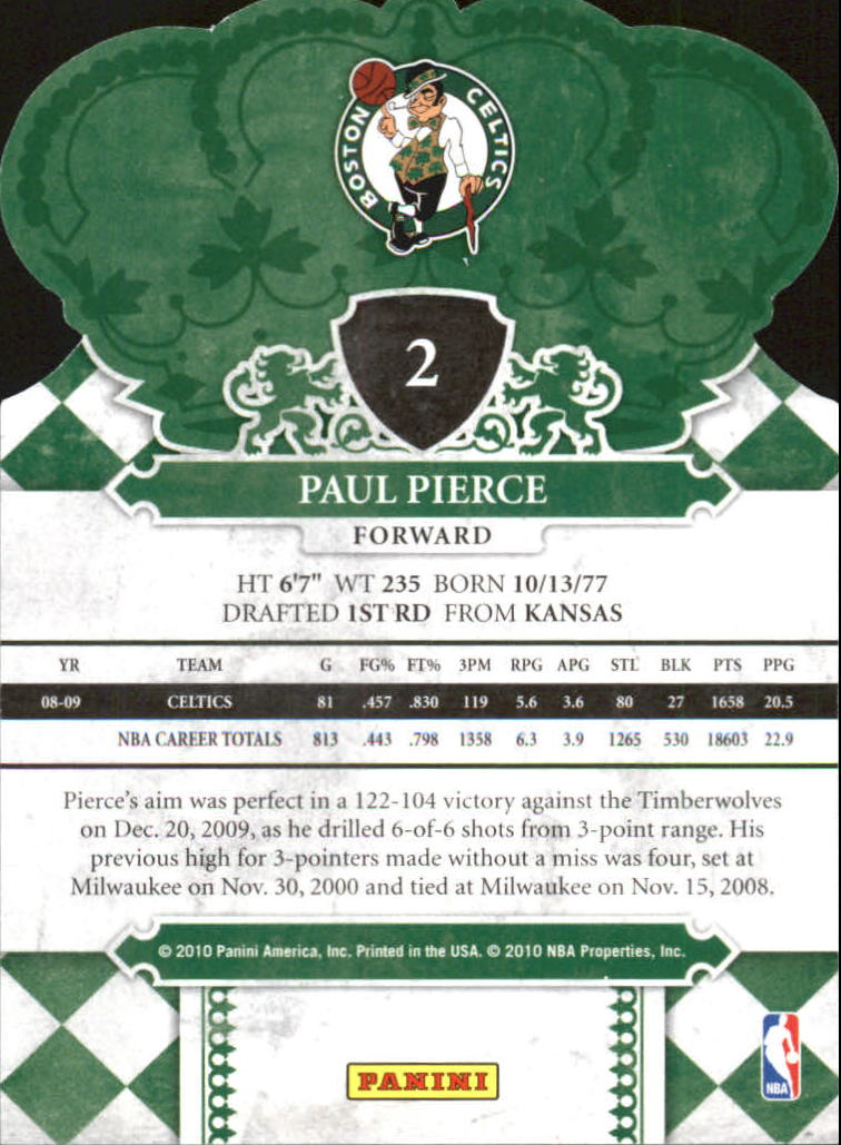 2009-10 Crown Royale #2 Paul Pierce back image