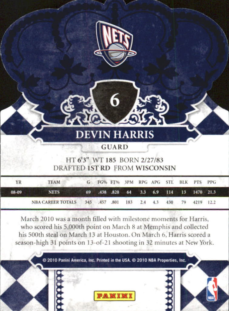 2009-10 Crown Royale #6 Devin Harris back image