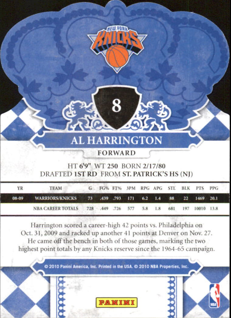 2009-10 Crown Royale #8 Al Harrington back image