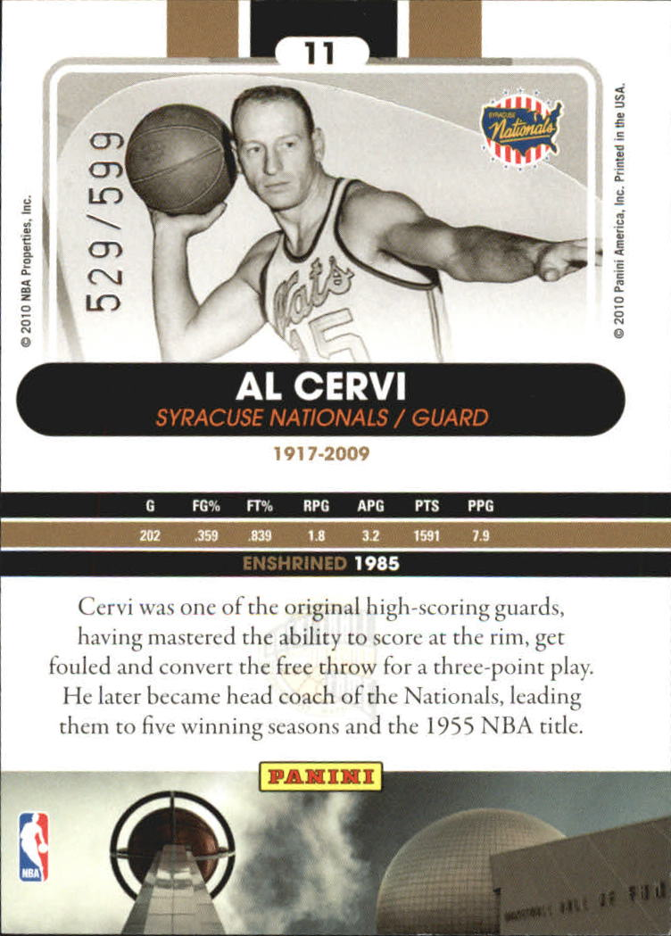 2009-10 Hall of Fame #11 Al Cervi