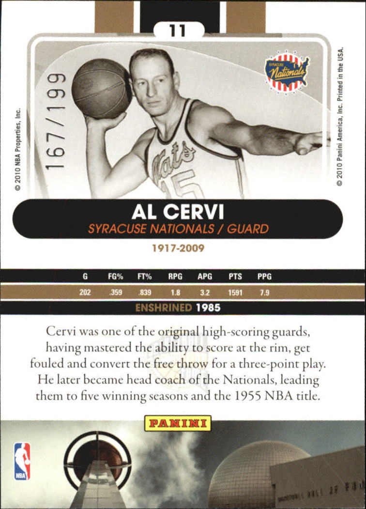 2009-10 Hall of Fame Black Border #11 Al Cervi