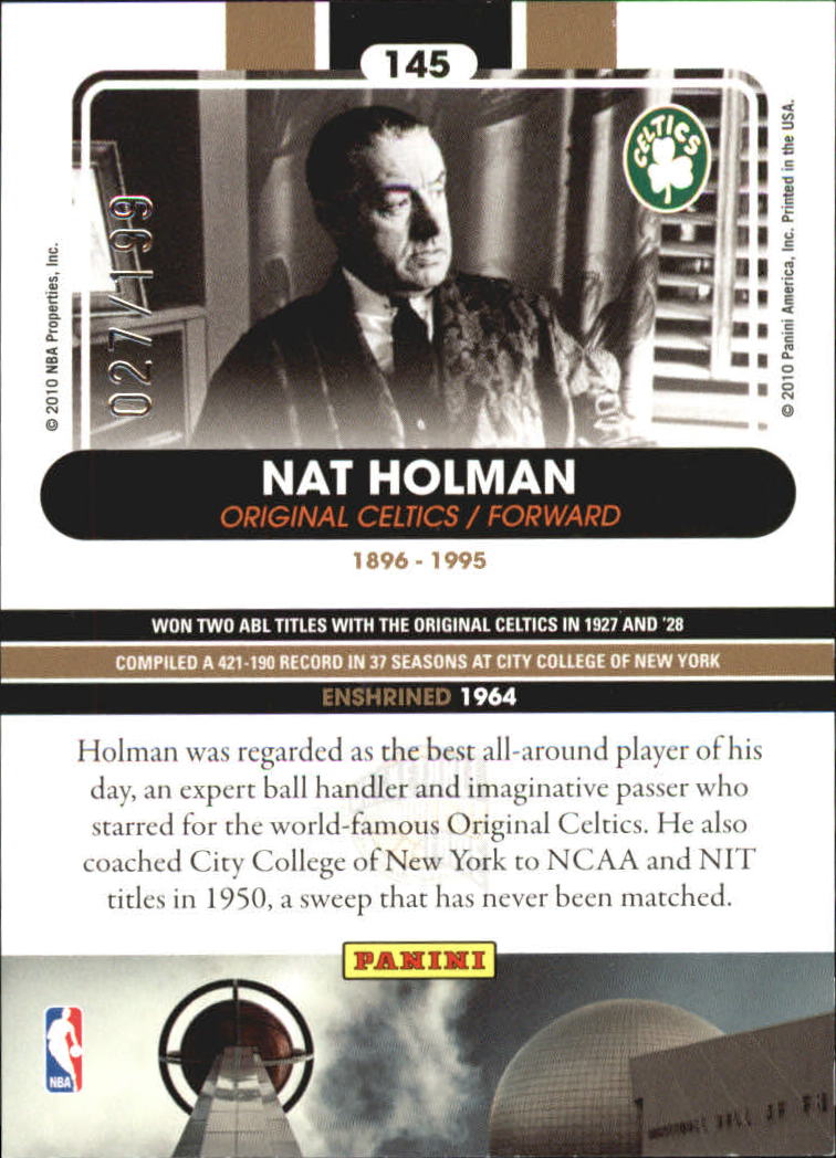 2009-10 Hall of Fame Black Border #145 Nat Holman