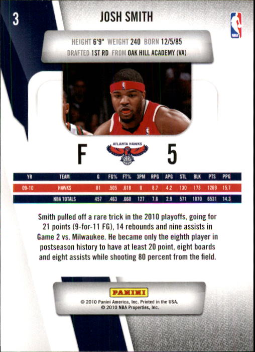 2010-11 Prestige #3 Josh Smith back image