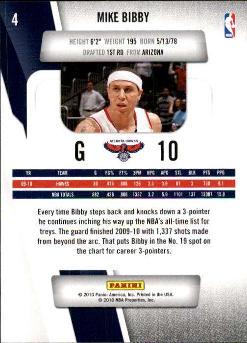 2010-11 Prestige #4 Mike Bibby back image