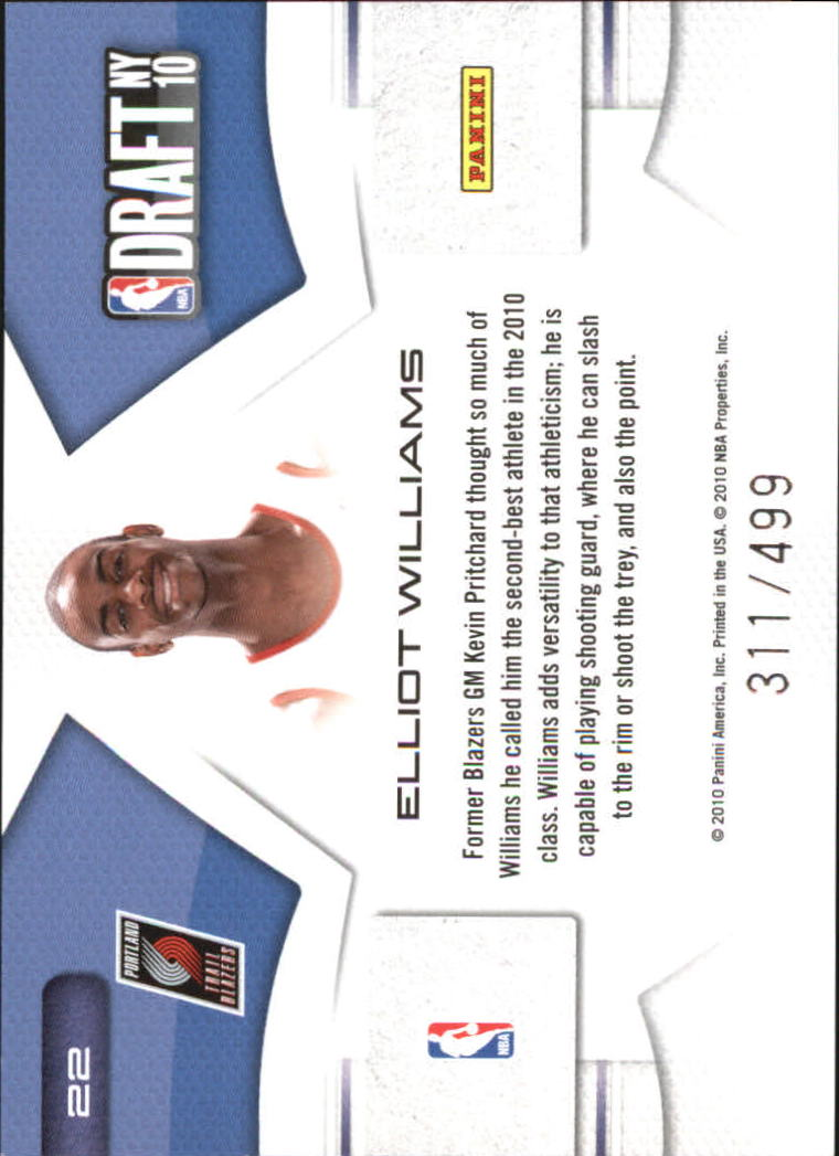 2010-11 Prestige NBA Draft Class #22 Elliot Williams
