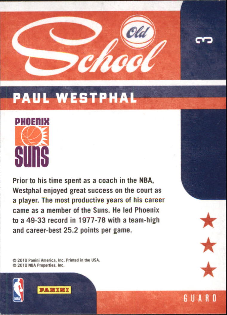 2010-11 Prestige Old School #3 Paul Westphal back image