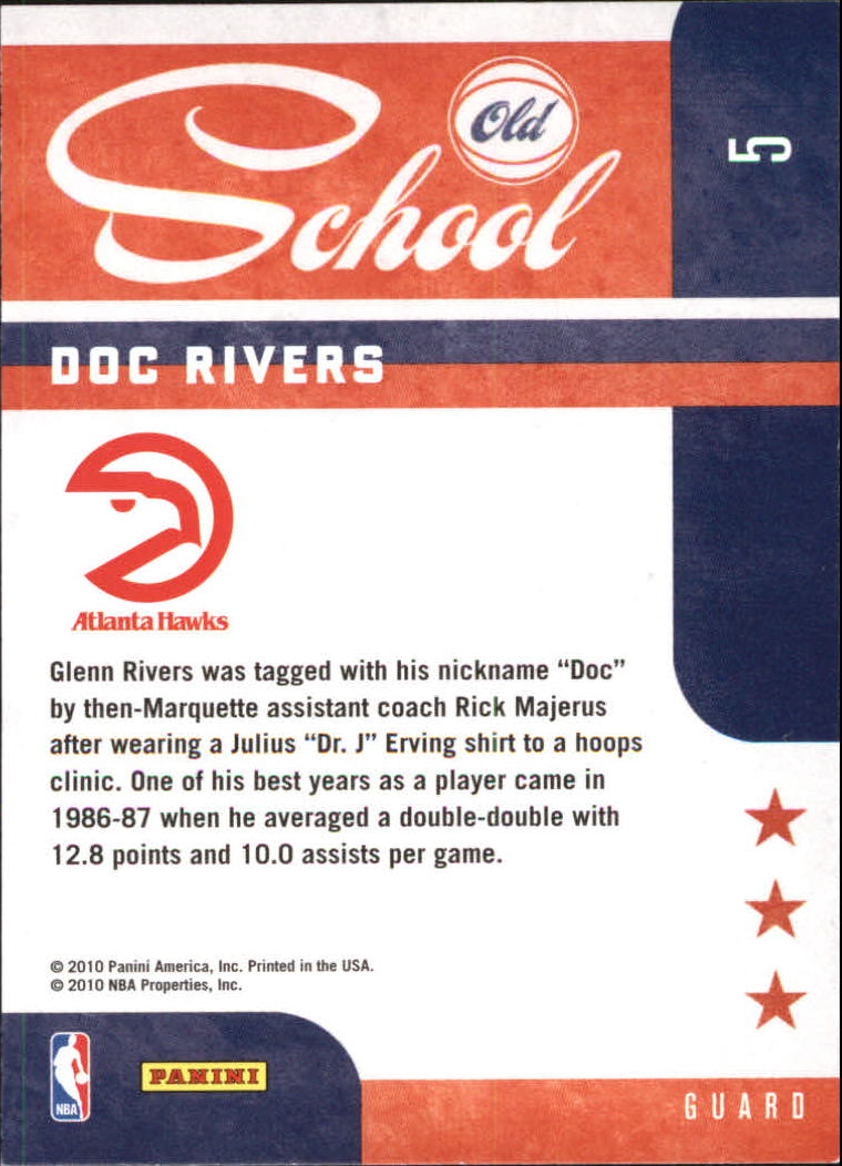 2010-11 Prestige Old School #5 Doc Rivers back image