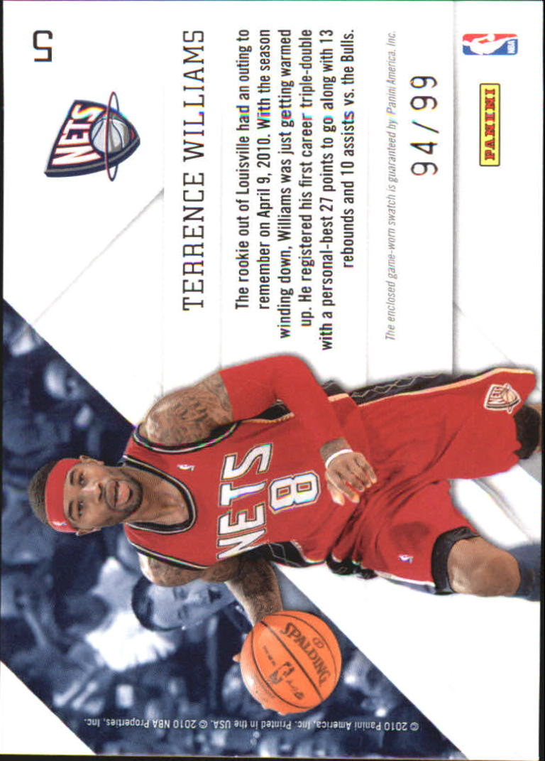 2010-11 Prestige Prestigious Pros Materials Gold #5 Terrence Williams back image