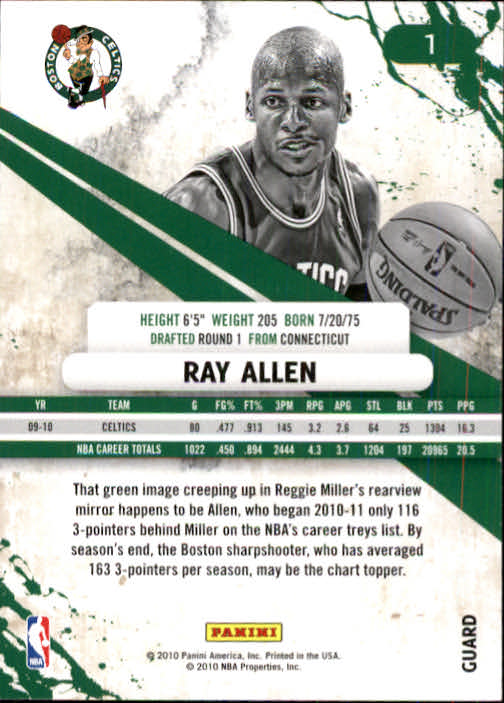 2010-11 Rookies and Stars #1 Ray Allen back image