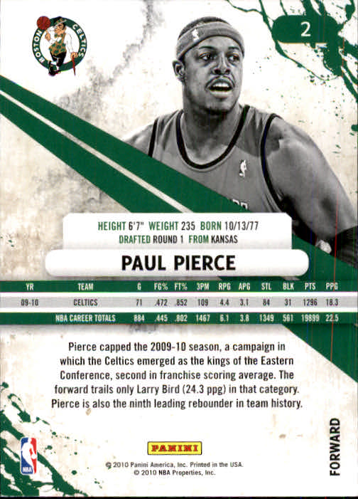 2010-11 Rookies and Stars #2 Paul Pierce back image