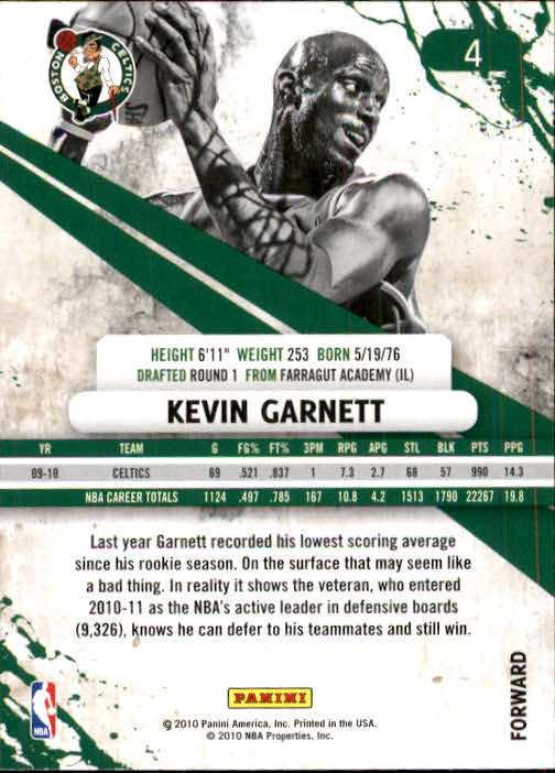 2010-11 Rookies and Stars #4 Kevin Garnett back image
