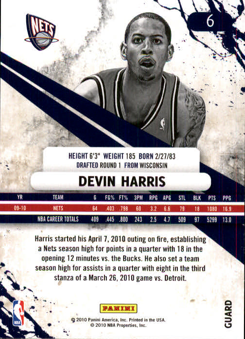 2010-11 Rookies and Stars #6 Devin Harris back image