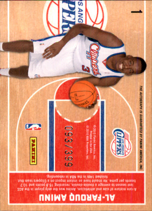 2010-11 Panini Threads #1 Al-Farouq Aminu AU RC back image
