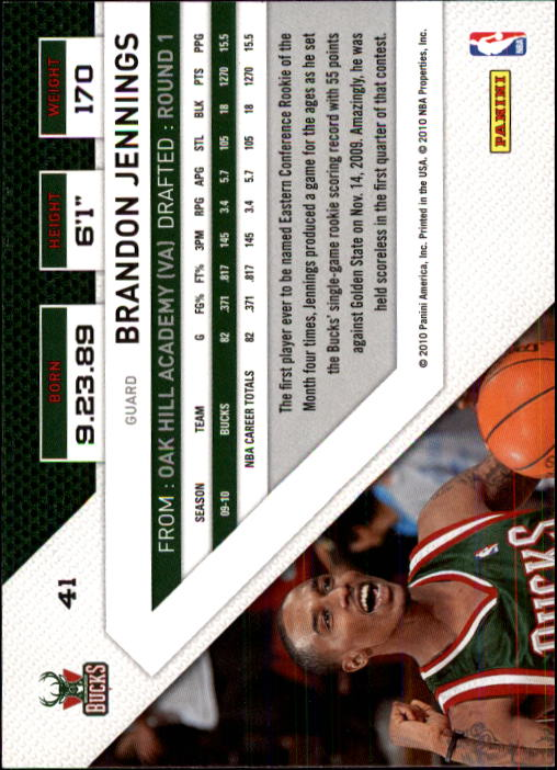 2010-11 Panini Threads #41 Brandon Jennings back image