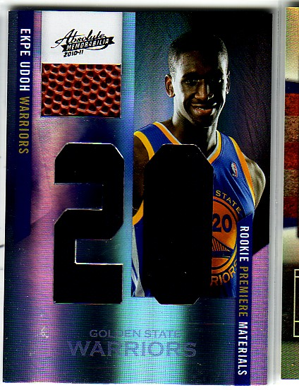 2010-11 Absolute Memorabilia Rookie Materials Jumbo Jersey Numbers Basketball #156 Ekpe Udoh