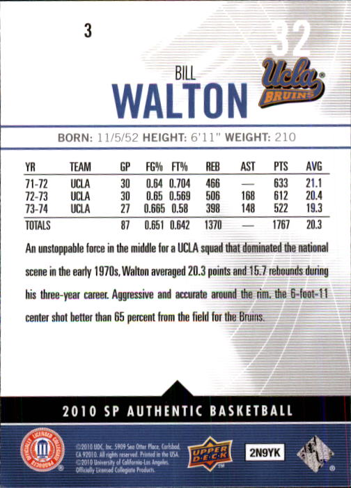 2010-11 SP Authentic #3 Bill Walton back image