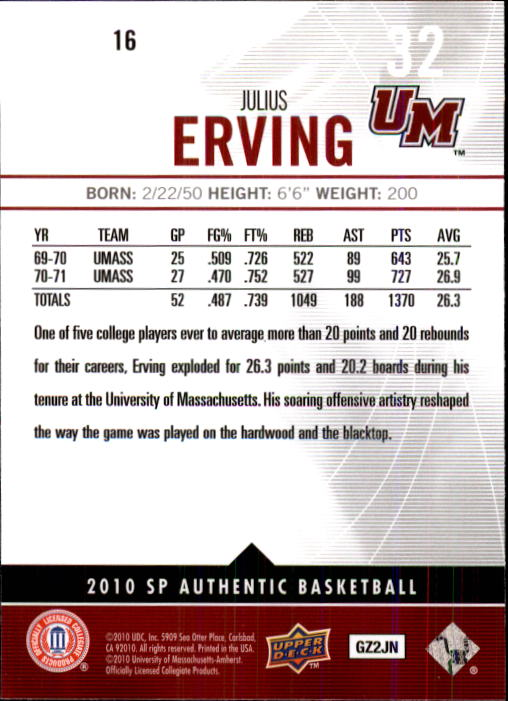 2010-11 SP Authentic #16 Julius Erving back image