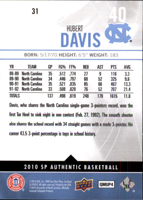 2010-11 SP Authentic #31 Hubert Davis back image