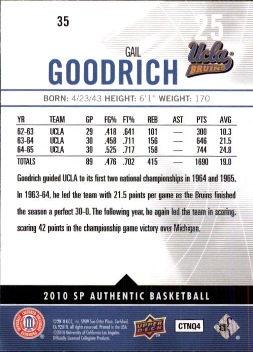 2010-11 SP Authentic #35 Gail Goodrich back image