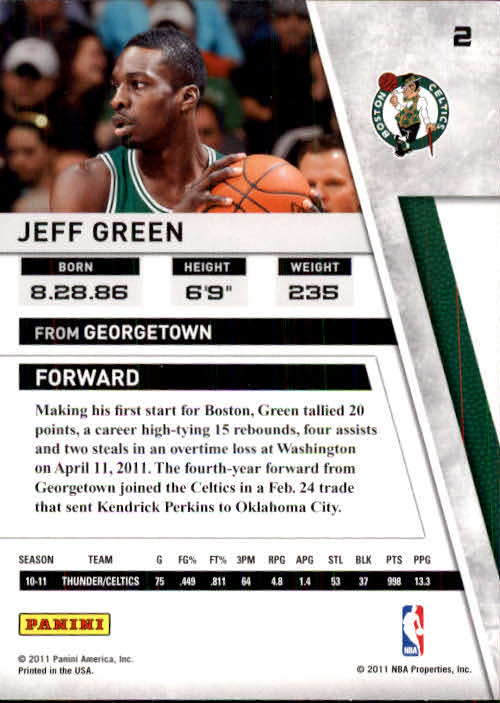 2010-11 Panini Season Update #2 Jeff Green back image