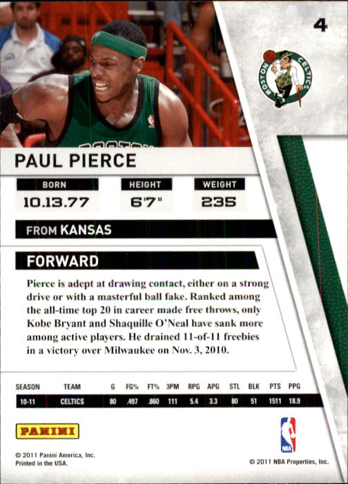 2010-11 Panini Season Update #4 Paul Pierce back image
