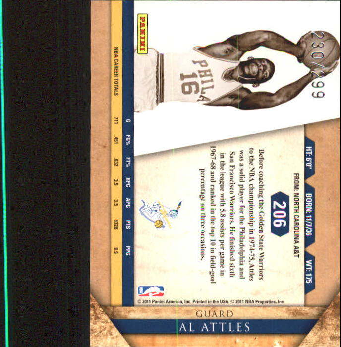 2010-11 Panini Gold Standard #206 Al Attles back image