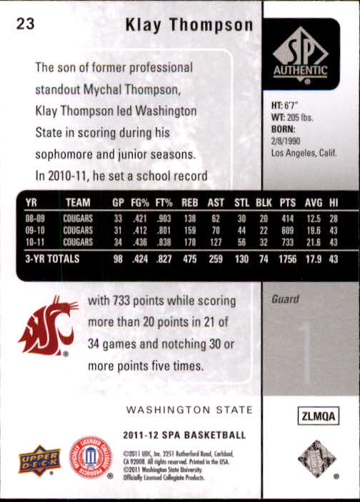 2011-12 SP Authentic #23 Klay Thompson back image