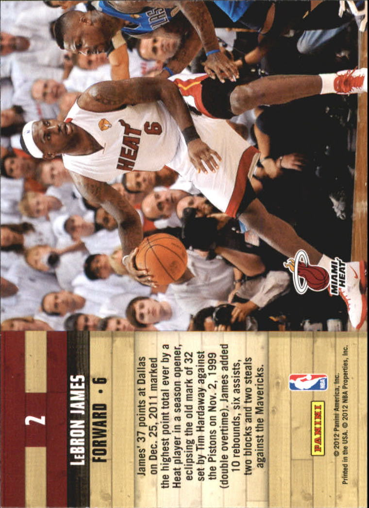 2011-12 Hoops Courtside #2 LeBron James back image