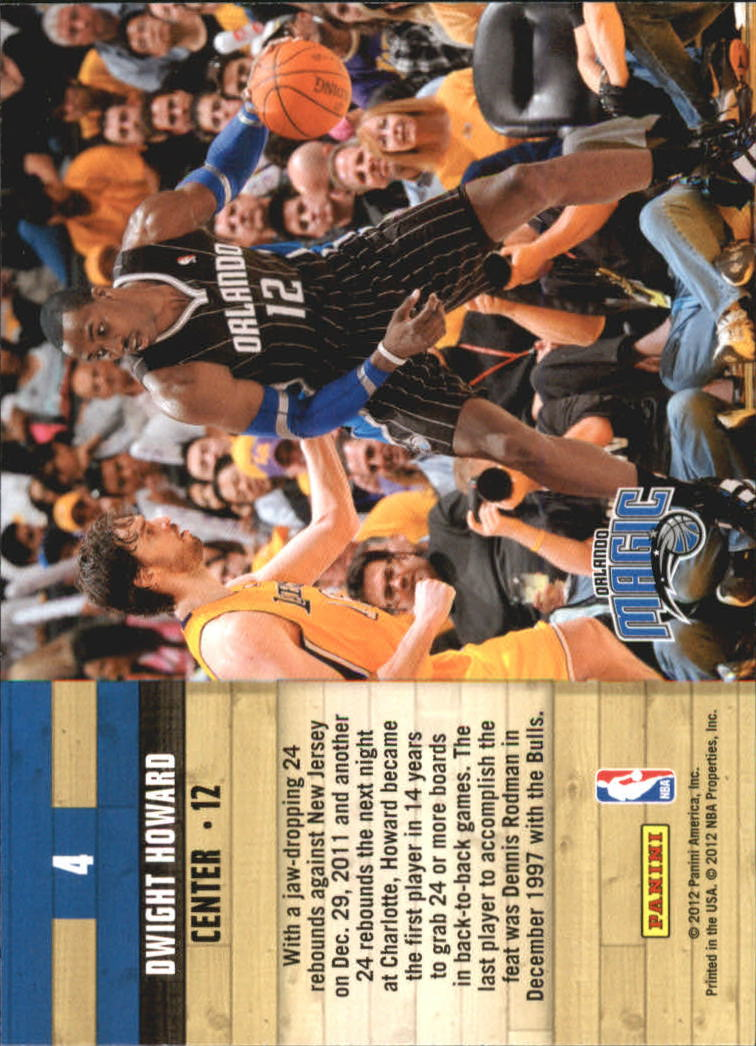2011-12 Hoops Courtside #4 Dwight Howard back image