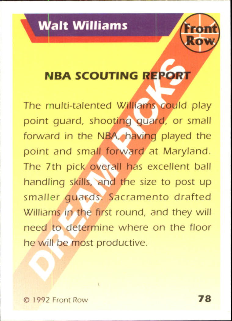 1992 Front Row Dream Picks Silver #78 Walt Williams/NBA Scouting Report