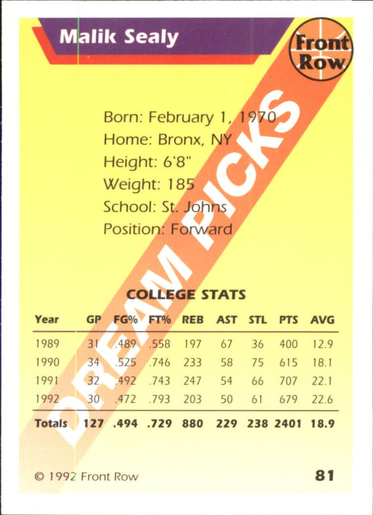 1992 Front Row Dream Picks Silver #81 Malik Sealy/College Stats