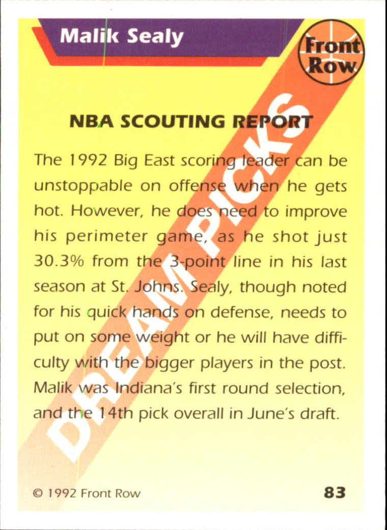 1992 Front Row Dream Picks Silver #83 Malik Sealy/NBA Scouting Report