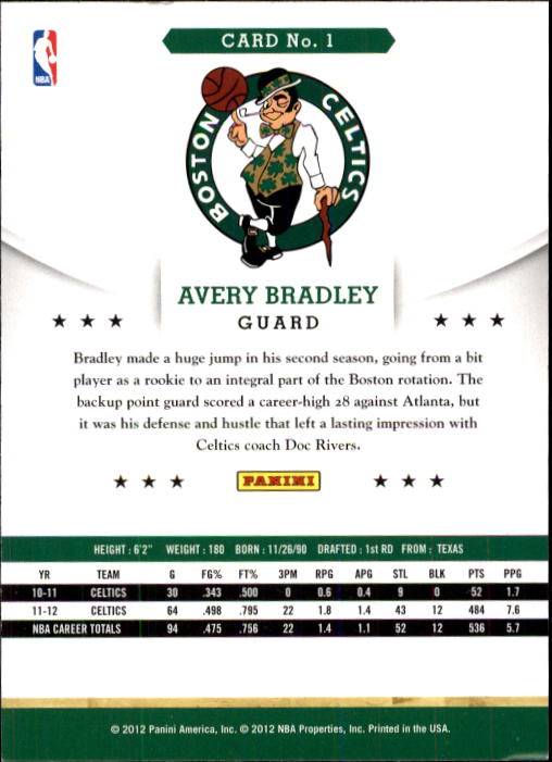 2012-13 Hoops #1 Avery Bradley back image