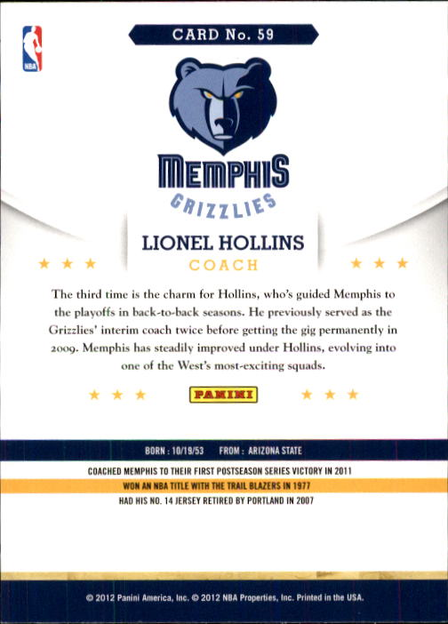 2012-13 Hoops #59 Lionel Hollins CO back image