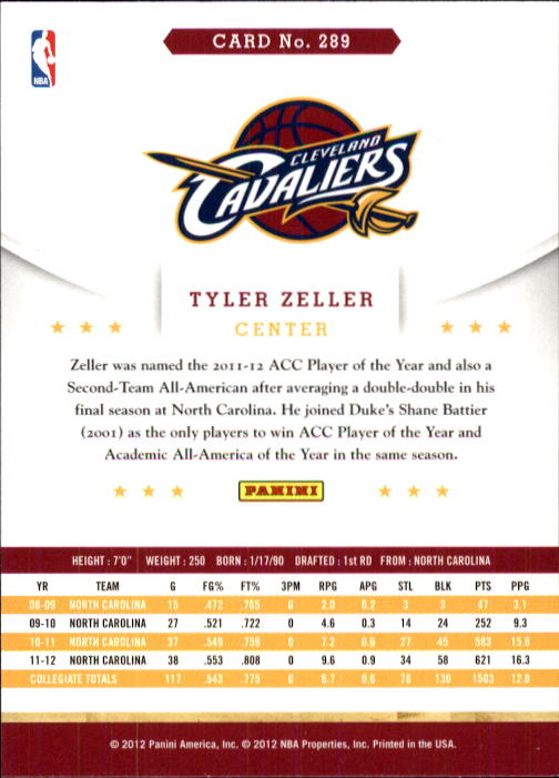 2012-13 Hoops #289 Tyler Zeller RC back image