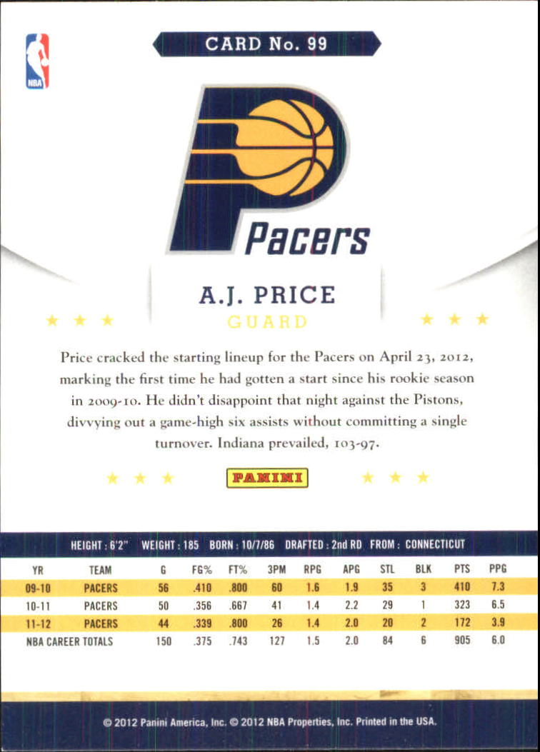 2012-13 Hoops Glossy #99 A.J. Price