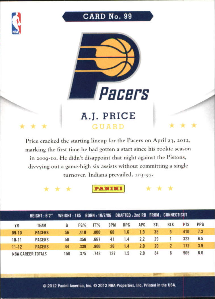 2012-13 Hoops Artist's Proofs #99 A.J. Price