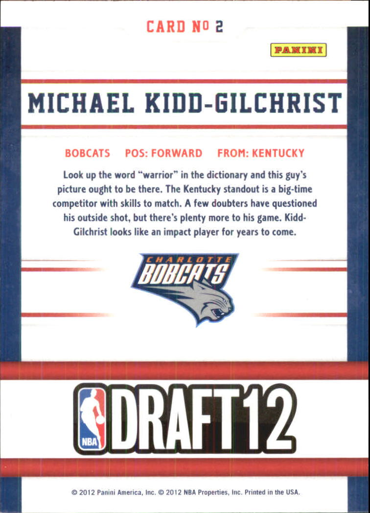 2012-13 Hoops Draft Night #2 Michael Kidd-Gilchrist back image